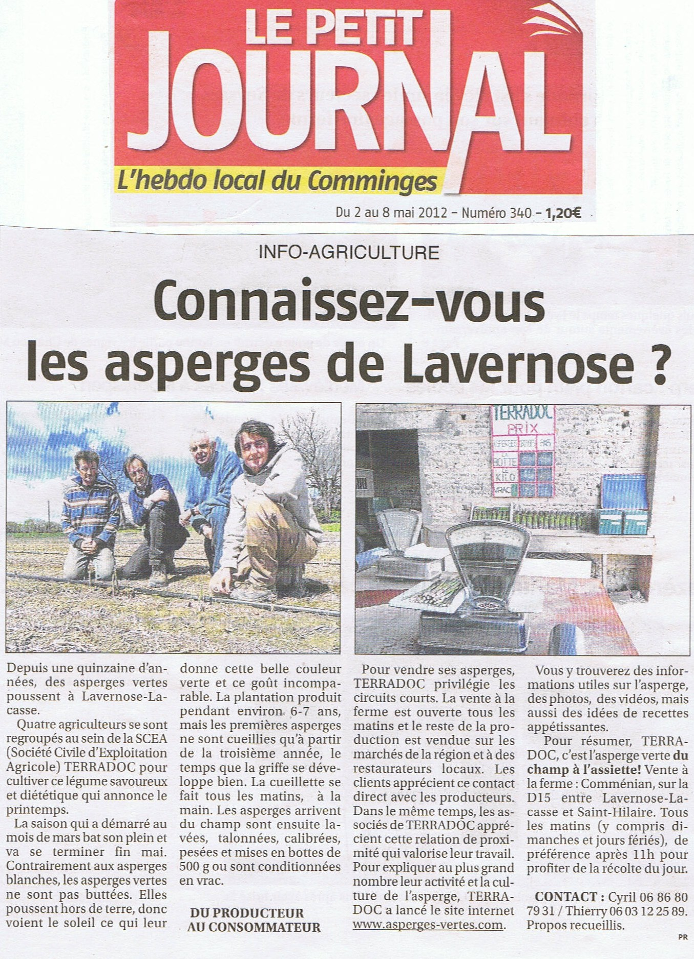 Connaissez vous les asperges de lavernose article du petit journal 02 05 1 - Le journal du pays d auge ...